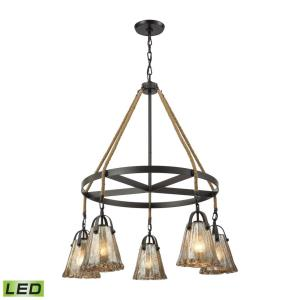 Hand Formed Glass - 47.5W 5 LED Chandelier in Transitional Style with Southwestern and Modern Farmhouse inspirations - 37 by 33 inches wide