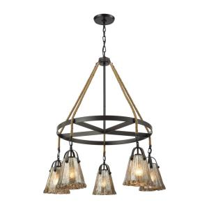 Hand Formed Glass - 5 Light Chandelier in Transitional Style with Southwestern and Modern Farmhouse inspirations - 37 Inches tall and 33 inches wide