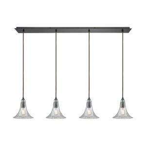 Hand Formed Glass - 4 Light Linear Pendant in Transitional Style with Southwestern and Modern Farmhouse inspirations - 9 by 46 inches wide