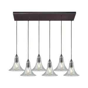 Hand Formed Glass - 6 Light Rectangular Pendant in Transitional Style with Southwestern and Modern Farmhouse inspirations - 9 by 32 inches wide