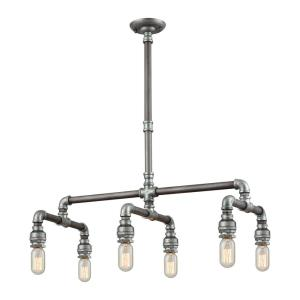 Cast Iron Pipe - Six Light Chandelier