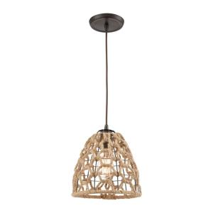 Coastal Inlet - 1 Light Mini Pendant in Transitional Style with Coastal/Beach  and Modern Farmhouse  inspirations - 10 Inches tall and 9 inches wide