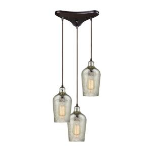 Hammered Glass - 4 Light Linear Pendant in Transitional Style with Coastal/Beach and Southwestern inspirations - 10 Inches tall and 10 inches wide