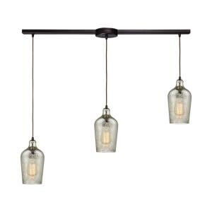 Hammered Glass - 3 Light Linear Mini Pendant in Transitional Style with Coastal and Southwestern inspirations - 10 Inches tall and 36 inches wide
