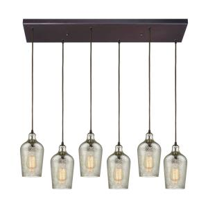 Hammered Glass - 6 Light Rectangular Pendant in Transitional Style with Coastal and Southwestern inspirations - 10 Inches tall and 30 inches wide