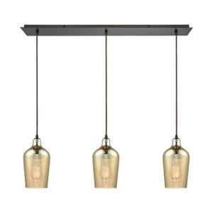 Hammered Glass - Three Light Linear Mini Pendant