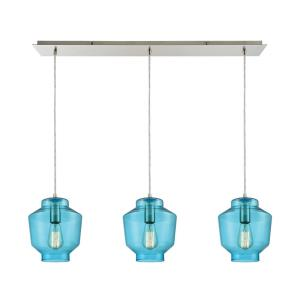 Barrel - 3 Light Linear Mini Pendant in Modern/Contemporary Style with Scandinavian and Coastal/Beach inspirations - 10 Inches tall and 36 inches wide
