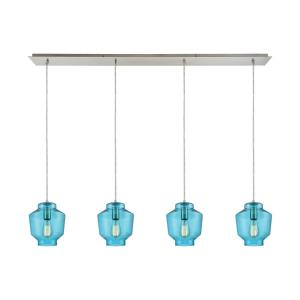 Barrel - 4 Light Linear Pendant in Modern/Contemporary Style with Scandinavian and Coastal/Beach inspirations - 10 Inches tall and 46 inches wide