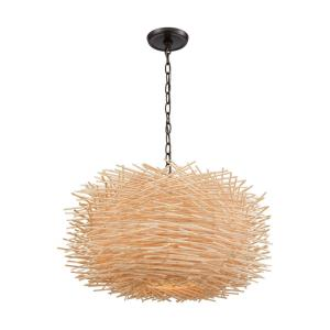 Bamboo Nest - 3 Light Pendant in Modern/Contemporary Style with Nature-Inspired/Organic and Asian inspirations - 13 Inches tall and 23 inches wide