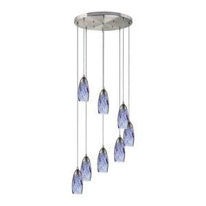 Milan - 8 Light Round Pendant in Transitional Style with Coastal/Beach and Eclectic inspirations - 7 Inches tall and 18 inches wide