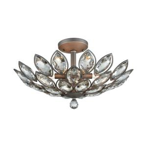 La Crescita - 6 Light Semi-Flush Mount in Traditional Style with Luxe/Glam and Nature/Organic inspirations - 12 Inches tall and 21 inches wide