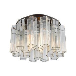 Cubic Glass - Three Light Semi-Flush Mount