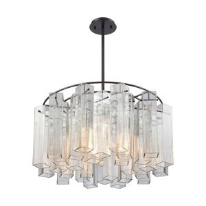 Cubic Glass - 6 Light Chandelier in Modern/Contemporary Style with Art Deco and Luxe/Glam inspirations - 13 Inches tall and 28 inches wide