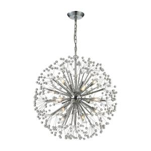 Starburst - 6teen Light Chandelier in Modern/Contemporary Style with Mid-Century and Luxe/Glam inspirations - 30 Inches tall and 27 inches wide