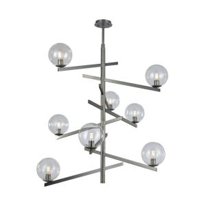 Globes of Light - 8 Light Chandelier in Modern/Contemporary Style with Mid-Century and Luxe/Glam inspirations - 46 Inches tall and 42 inches wide