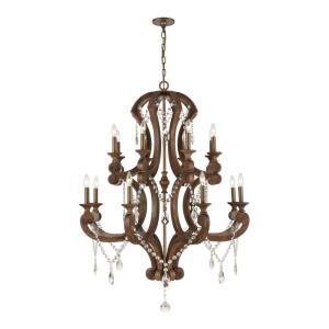 San Sebastian - 6teen Light 2-Tier Chandelier in Traditional Style with French Country and Vintage Charm inspirations - 52 by 40 inches wide