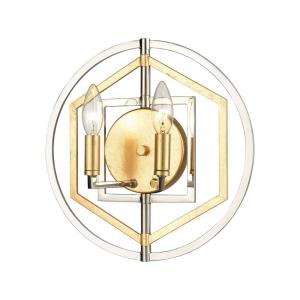 Geosphere - 2 Light Wall Sconce in Modern/Contemporary Style with Luxe/Glam and Mid-Century Modern inspirations - 13 Inches tall and 13 inches wide