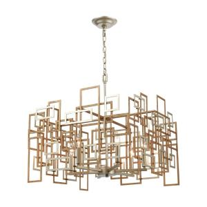 Gridlock - 6 Light Chandelier in Modern/Contemporary Style with Luxe/Glam and Asian inspirations - 17 Inches tall and 23 inches wide