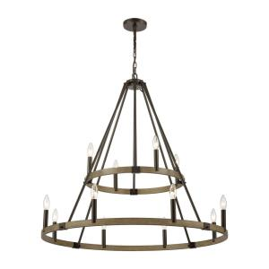 Transitions - 12 Light 2-Tier Chandelier in Transitional Style with Modern Farmhouse and French Country inspirations - 35 by 36 inches wide