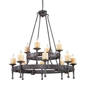 Cambridge - 6teen Light Chandelier in Traditional Style with Vintage Charm and Country/Cottage inspirations - 44 Inches tall and 42 inches wide