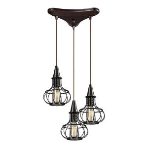 Yardley - 3 Light Triangular Pendant in Transitional Style with Urban/Industrial and Country/Cottage inspirations - 11 Inches tall and 10 inches wide