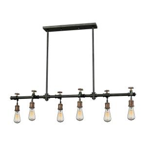 Jonas - 6 Light Chandelier in Modern/Contemporary Style with Urban/Industrial and Modern Farmhouse inspirations - 7 Inches tall and 48 inches wide