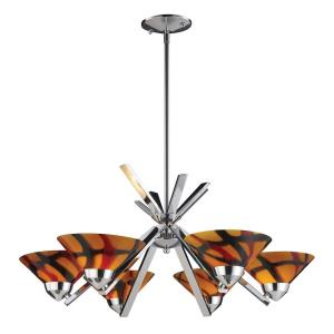 Refraction - 6 Light Chandelier in Modern/Contemporary Style with Art Deco and Luxe/Glam inspirations - 13 Inches tall and 26 inches wide