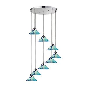Eight Light Pendant in Modern/Contemporary Style with Art Deco and Luxe/Glam inspirations - 8 Inches tall and 18 inches wide