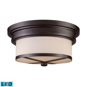 """13"""" 19W 2 LED Flush Mount in Transitional Style with Art Deco and Modern Farmhouse inspirations - 6 Inches tall and 13 inches wide"""