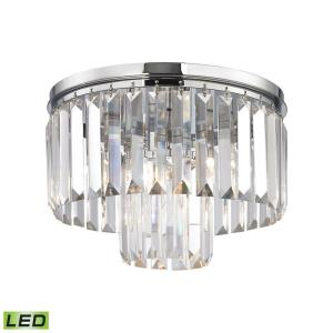 Palacial - 4.8W 1 LED Semi-Flush Mount in Traditional Style with Art Deco and Luxe/Glam inspirations - 9 Inches tall and 12 inches wide