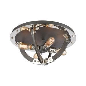 Riveted Plate - Four Light Flush Mount