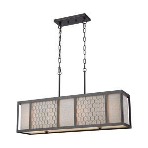 Filmore - 4 Light Chandelier in Transitional Style with Modern Farmhouse and Country/Cottage inspirations - 10 Inches tall and 35 inches wide