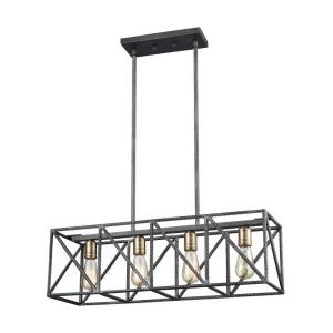 Crossbar - 4 Light Chandelier in Modern/Contemporary Style with Urban/Industrial and Modern Farmhouse inspirations - 9 Inches tall and 28 inches wide