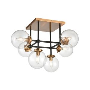 Boudreaux - 6 Light Semi-Flush Mount in Modern/Contemporary Style with Mid-Century and Urban inspirations - 17 Inches tall and 26 inches wide