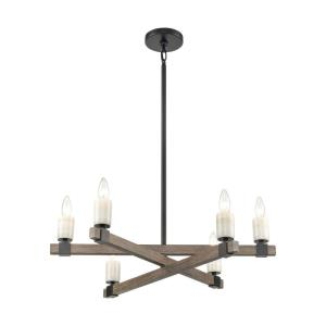 Stone Manor - 6 Light Chandelier in Transitional Style with Country/Cottage and Southwestern inspirations - 8 Inches tall and 27 inches wide