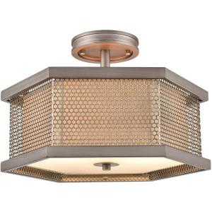 Crestler - 2 Light Semi-Flush Mount in Transitional Style with Art Deco and Urban/Industrial inspirations - 11 Inches tall and 16 inches wide