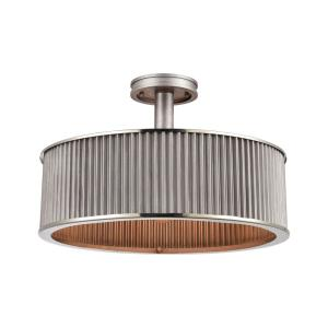 Corrugated Steel - Three Light Semi-Flush Mount