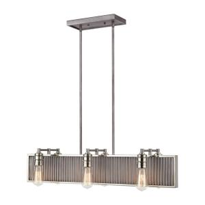 Corrugated Steel - 6 Light Chandelier in Modern/Contemporary Style with Urban and Modern Farmhouse inspirations - 7 Inches tall and 32 inches wide