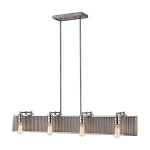Corrugated Steel - 8 Light Chandelier in Modern/Contemporary Style with Urban and Modern Farmhouse inspirations - 7 Inches tall and 43 inches wide