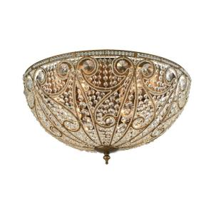 Elizabethan - 10 Light Flush Mount in Traditional Style with Victorian and Luxe/Glam inspirations - 14 Inches tall and 28 inches wide