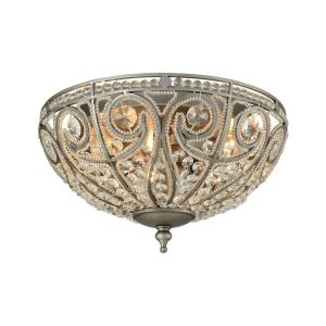 Elizabethan - 3 Light Flush Mount in Traditional Style with Victorian and Luxe/Glam inspirations - 7 Inches tall and 13 inches wide