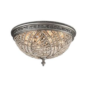 Renaissance - 6 Light Flush Mount in Traditional Style with Victorian and Luxe/Glam inspirations - 12 Inches tall and 24 inches wide