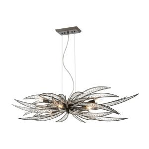 Naples - 6 Light Chandelier in Modern/Contemporary Style with Coastal/Beach and Nature/Organic inspirations - 9 Inches tall and 46 inches wide