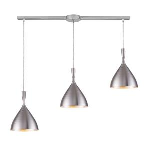 Spun Aluminum - 3 Light Linear Pendant in Modern/Contemporary Style with Mid-Century and Scandinavian inspirations - 10 Inches tall and 5 inches wide