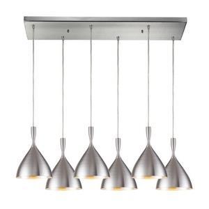 Spun Aluminum - Six Light Rectangular Pendant