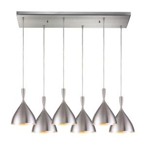 Spun Aluminum - 6 Light Rectangular Pendant in Modern Style with Mid-Century and Scandinavian inspirations - 9 Inches tall and 9 inches wide