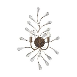Crislett - 2 Light Wall Sconce in Traditional Style with Shabby Chic and Nature/Organic inspirations - 27 Inches tall and 18 inches wide
