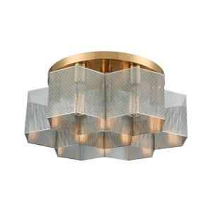 Compartir - 7 Light Semi-Flush Mount in Modern/Contemporary Style with Urban and Luxe/Glam inspirations - 8 Inches tall and 19 inches wide
