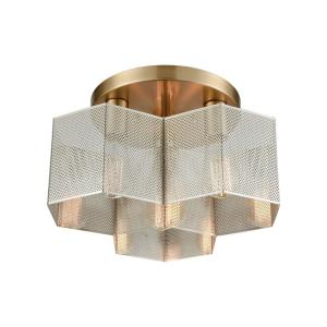 Compartir - 3 Light Semi-Flush Mount in Modern/Contemporary Style with Urban/Industrial and Luxe/Glam inspirations - 8 Inches tall and 15 inches wide