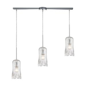 Glitzy - 3 Light Linear Mini Pendant in Modern/Contemporary Style with Luxe/Glam and Art Deco inspirations - 15 Inches tall and 36 inches wide